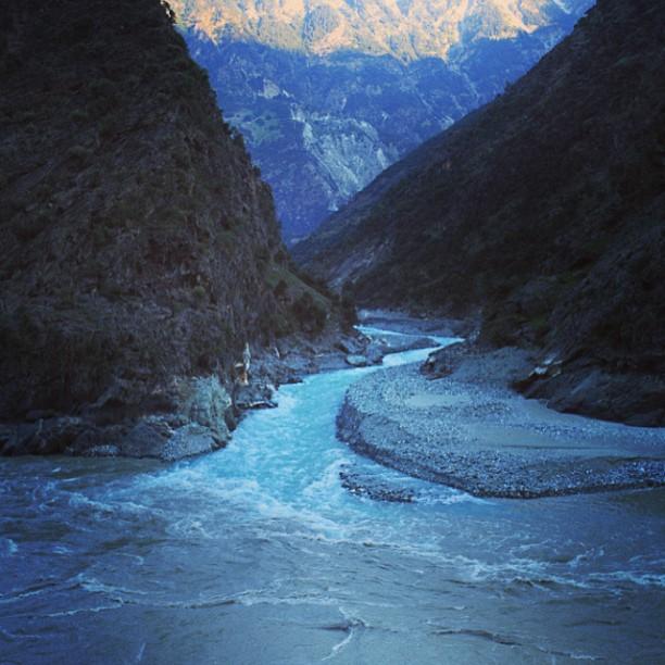 Turquoise Colour Meet Grey Asphalt Colour | Indus River | Near Dasu | Karakoram Highway | Indus Kohistan Region | Khyber Pakhtoonkhwa Province, Pakistan