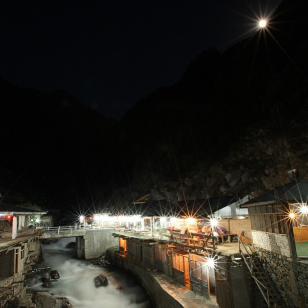 Glacier Stream + Local Charpoy Hotel + Half Moon Night | Near Dasu or Pattan | Karakoram Highway | Indus Kohistan Region | Khyber Pakhtoonkhwa Province, Pakistan