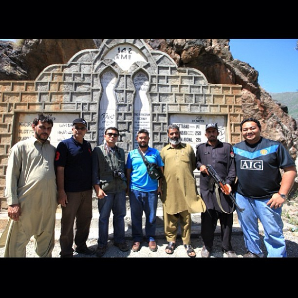 4 Malaysians + 2 Local Drivers + 1 Local Kohistan Police | At The Karakoram Highway Monument | Karakoram Highway | Indus Kohistan Region | Khyber Pakhtoonkhwa Province, Pakistan