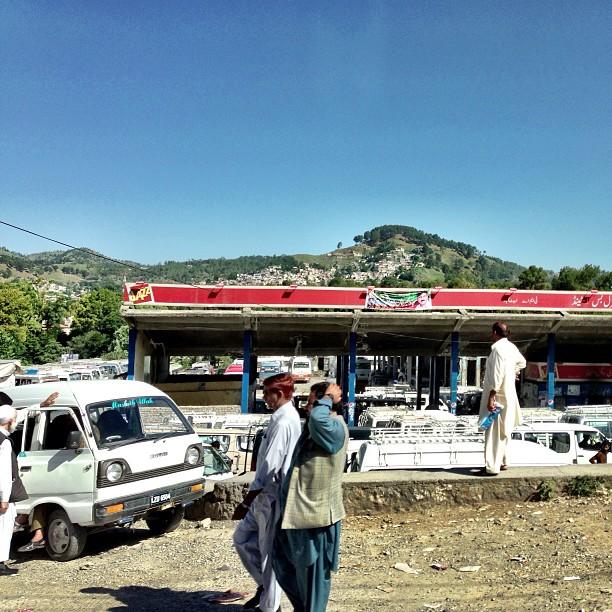 Abbottabad Bus Station, At The Back Is Shimla Hill   Abbottabad Town   Road Less Travelled   Karakoram Highway   Khyber Pakhtoonkhwa Province, Pakistan