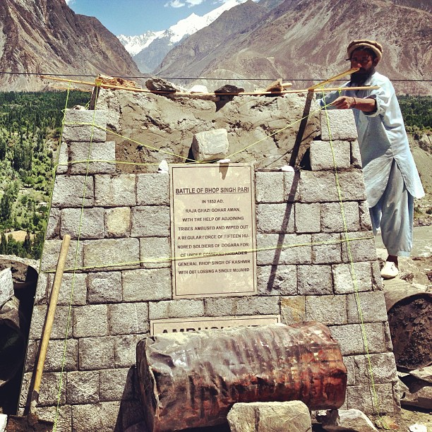 Construction of The Bhop Singh Pari Monument | Pari Village, After Jaglot to Gilgit | Karakoram Highway | Gilgit Baltistan, Northern Pakistan