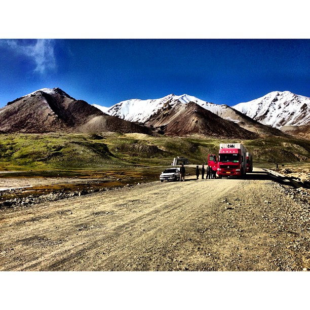 Chinese Trucks Awaiting to Cross The Border | #Khunjerab Top, Khunjerab Pass | Windy & Cold | #iPhonegraphy | #Karakoram Highway | Northern #Pakistan