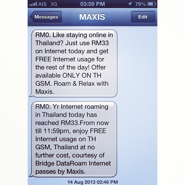 Daily Roaming Rate at RM33 for 3G Data | Suvarnabhumi Airport | Bangkok, Thailand #Maxis #THGSM #InternetSampaiLebam