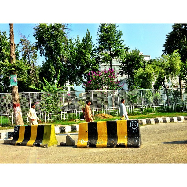 Security Measures | Concrete Blocks | Normal Scene of the Town | Islamabad, Pakistan