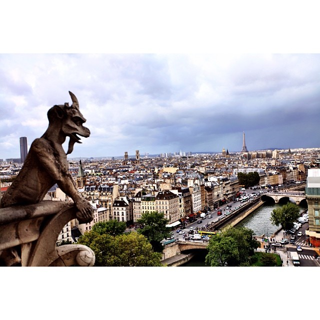 Perfect Storm From The Eiffel Tower Side | Cathedral's Legendary #Gargoyles or #Chimeres | Galerie des Chimeres | #Notre-Dame, Ile de la Cite | Autumn2013 | #JJCMPaghis | #Paris, France