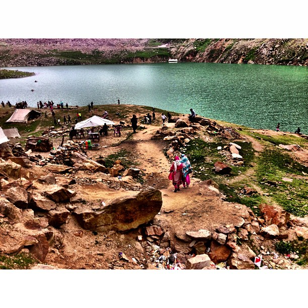 Arrived at this Green Lake | #Lulusar Lake at 3,410m | Source of Water for #Kunhar River | Lulusar #Dudipatsar National Park | #iPhoneography | #Kaghan Valley | Northern Pakistan Trip 2013 | #Khyber #Pakhtoonkhwa Province | #Pakistan