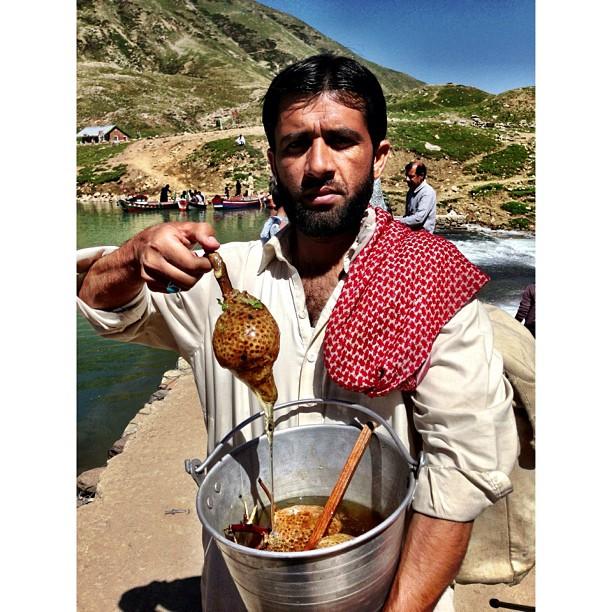 Honey ? | Lake #Saif-ul #Mulook at 3,224m | Facing #Malika #Parbat Mountain at 5,290m | #iPhoneography | #Kaghan Valley | Northern Pakistan Trip 2013 | #Khyber #Pakhtoonkhwa Province | #Pakistan