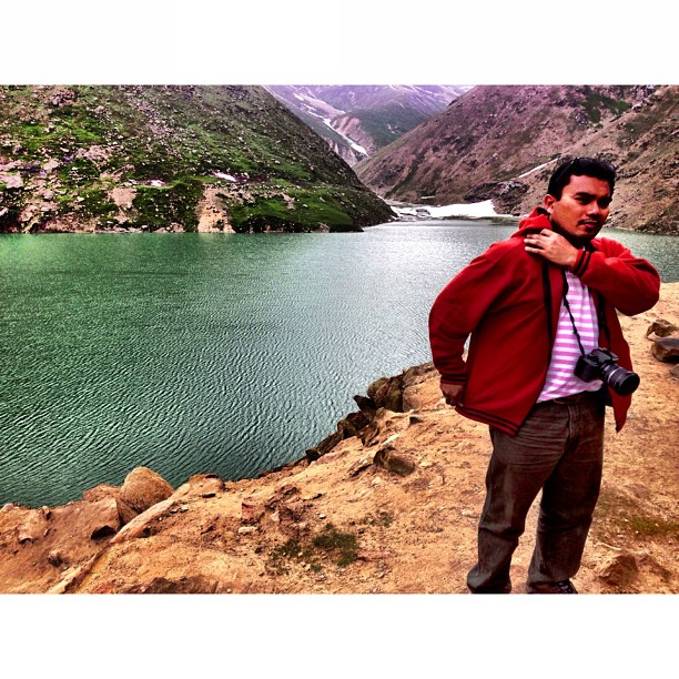 Mr @abonaida & Green Lake | #Lulusar Lake at 3,410m | Source of Water for #Kunhar River | Lulusar #Dudipatsar National Park | #iPhoneography | #Kaghan Valley | Northern Pakistan Trip 2013 | #Khyber #Pakhtoonkhwa Province | #Pakistan