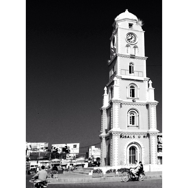 Today is Allama Iqbal Day   #Iqbal Square, #Sialkot   Road Less Travelled   iPhoneography   Clock Tower in Noir Version   #Punjab Province, #Pakistan