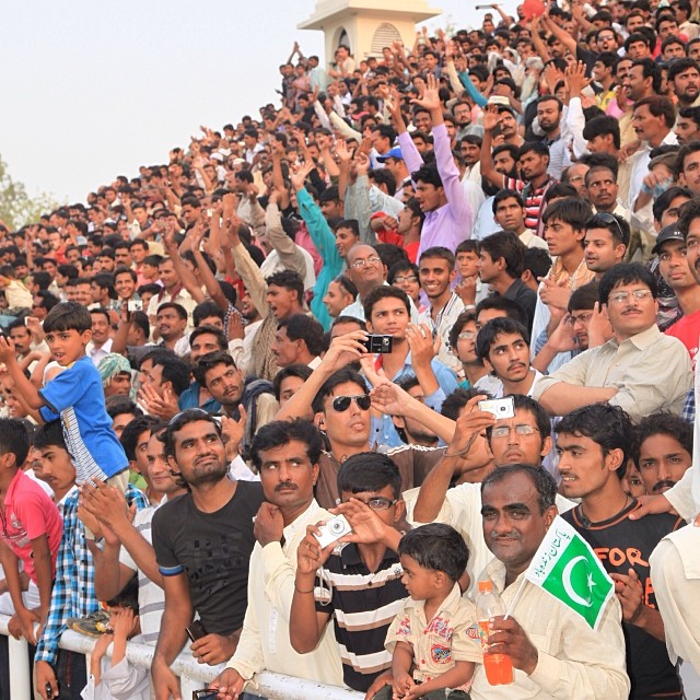 The Crowd | Lowering Flag Ceremony | #Wahga Border | Near #Lahore | Summer 2012 | Pakistan-India Border | #Punjab Province, #Pakistan