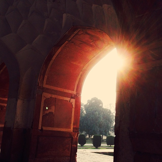 Sunset | Tomb of #Jahangir | Floral Frescous & Colourful Pietra Dura Flowers Design | Built by Emperor Shah Jahan 1627 AD | Red Marble & #Mughal Arhictecture | #UNESCO World Heritage Site | #iPhoneography | Shahdara Bagh District | Near Ravi River | #Lahore, #Punjab Province, #Pakistan